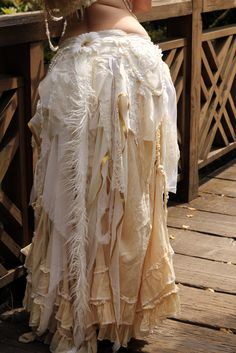 Steampunk Tattered Wrap Skirt Gothic Tribal belly dance Bustle White, Fairytale fantasy outfit. Gyspy Spirits long Fur Tail. $75.00, via Etsy.