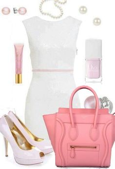 pink idea, CELINE luggage handbag, white dress and heels