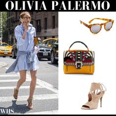 Olivia Palermo in light blue mini shirt dress, beige suede sandals, mustard bag and mirrored sunglasses