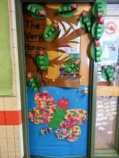 Ideas spring classroom door decorations ideas hungry caterpillar for 2019 Hungry Caterpillar Classroom, Hungry Caterpillar Activities, Caterpillar Book, Very Hungry Caterpillar, Kindergarten Classroom Door, Preschool Door, Preschool Crafts, Kindergarten Science, Classroom Fun