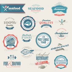 Seafood labels and elements #design #vector #eps Download: http://depositphotos.com/12114907/stock-illustration-seafood-labels-and-elements.html?ref=5747528