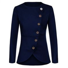USD9.99Trendy Round Neck Long Sleeves Single-breasted Design Royalblue Polyester Suit