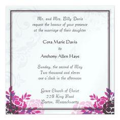 "Roses and Flowers 5.25"" Square Invitation Card http://www.zazzle.com/roses_and_flowers_5_25_square_invitation_card-256683350353166605?utm_content=bufferf84ac&utm_medium=social&utm_source=pinterest.com&utm_campaign=buffer #weddings #invitations"
