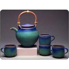 Maishe Dickman Hand Thrown Stoneware Turquoise Tea Set Extra Large, Artistic Artisan Pottery -