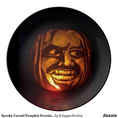 Spooky Carved Pumpkin Porcelain Plate - gift for him present idea cyo design Halloween Make Up, Halloween Party, Halloween Festival, Plates For Sale, Plate Design, Diy Halloween Decorations, Festival Party, Hallows Eve, Pumpkin Carving