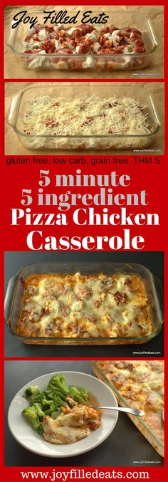"""Pizza Chicken Casserole - 5 Ingredients, Low Carb, Keto, Grain-Free, Gluten-Free, THM S - I know you are thinking, """"What is pizza chicken? Who puts chicken on pizza?"""" But... pizza chicken is what my kids call chicken parmesan. This combines the flavors of creamy casseroles with the flavors of chicken parmesan. It is one of our favorite easy dinners. Give my Pizza Chicken Casserole a try. I'm sure your family will love it too!"""