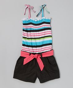 Take a look at the Longstreet Blue & Black Stripe Shirred Romper - Girls on #zulily today!