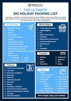 The Ultimate Ski Holiday Packing List from Alpine Answers. A useful checklist to help you pack every Winter Vacation Packing, Backpacking Packing List, Holiday Packing Lists, Road Trip Packing, Packing List For Travel, Holiday List, Maui Tattoo, Leaving Home, Bug Out Bag