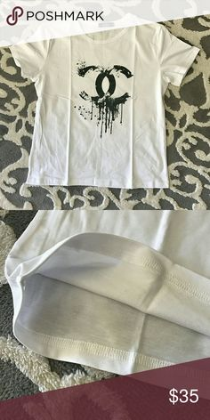Fashion CC tshirt Brand new, soft material , cotton & polyester mix. Available in M & L CHANEL Tops Tees - Short Sleeve