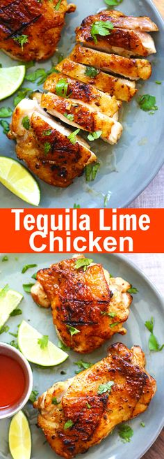 Tequila Lime Chicken – amazing chicken marinated with tequila, lime and garlic. This tequila lime chicken recipe tastes better than restaurant's {wine glass writer} Turkey Recipes, Mexican Food Recipes, Dinner Recipes, Restaurant Recipes, Lime Chicken Recipes, Garlic Lime Chicken, Garlic Recipes, Cooking Recipes, Healthy Recipes