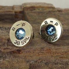 Bullet  Earrings   Ultra Thin   Aquamarine  March by ShellsNStuff,