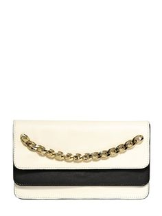 VALENTINO - TWO TONE LEATHER STUD CHAIN CLUTCH - LUISAVIAROMA - LUXURY SHOPPING WORLDWIDE SHIPPING - FLORENCE
