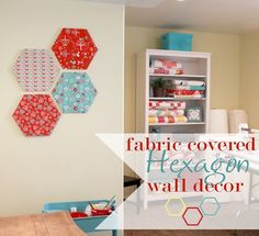 Fabric Covered Hexagon Wall Decor