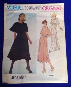 VTG Vogue 2043 Designer Original Jean Muir Dress Sewing Pattern SZ 10 UNCUT 70s #Vogue #EveningorStreetLengthDress