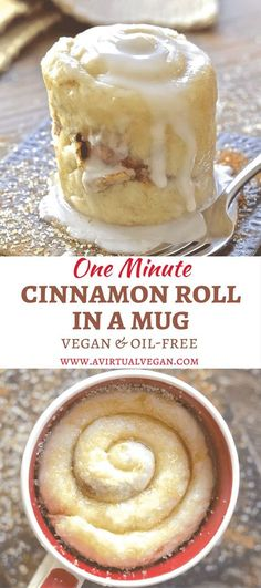 If you have a mug, a microwave & a spoon you can make this One minute Cinnamon Roll in a Mug. Perfect for when you NEED dessert now! via A Virtual Vegan kuchen ostern rezepte torten cakes desserts recipes baking baking baking Delicious Desserts, Yummy Food, Tasty Snacks, Vegan Snacks, Think Food, Vegan Sweets, Vegan Baking, Sweet Recipes, Quick Recipes