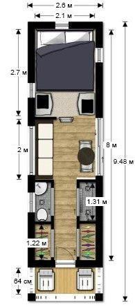 Дом из морского контейнера 20' планировка