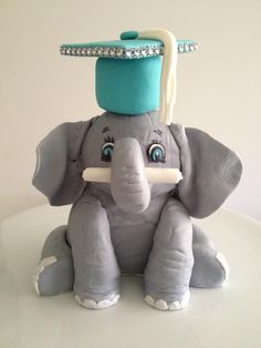 Elephant with diploma and graduation cap - cake by Butter Me Up Bakery