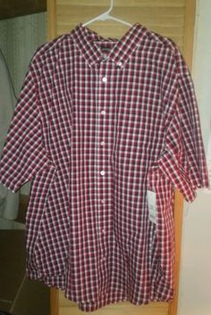 Men's George short sleeve button up shirt. Black white and red checkered plaid. Size 3x (54-56) New with tags | eBay!