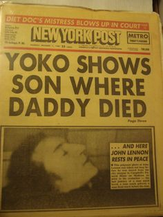 John Lennon Autopsy | SALE New York Post newspapers JOHN LENNON Morgue pictures Metro ...