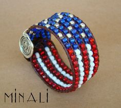 America !!  American Flag Leather Beaded Cuff Bracelet - All proceeds go to support the Wounded Warriors Project