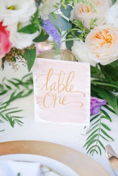 Watercolor table numbers with calligraphy by Pirouette Paper | Tiffany Amber Photography