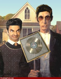 American Gothic? Mr. Bean goes midwestern! Put's a little British to the farm!