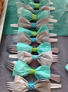 Bow Tie Napkins with Utensils | Click Pic for 21 DIY Baby Shower Ideas for Boys | DIY Baby Shower Party Favors for Boys (color themes for wedding party favors)