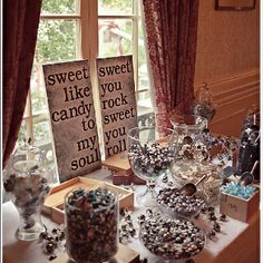 Creative (and sweet) Dave Matthews Band-inspired signage for a candy table