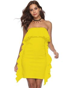 d8538b5ad18 Yellow Ruffle Bandeau Sides Off Shoulder Party Dance Going Out Dress – FADCOVER  Women s Dresses
