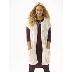 Cabled Topper With Pockets in Lion Brand Wool-Ease Thick & Quick - L30251. Discover more Patterns by Lion Brand at LoveKnitting. We stock patterns, yarn, needles and books from all of your favorite brands.