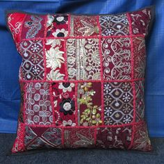 RED EMBROIDERY 16'' INDIAN CUSHION COVER PILLOW CASE FLORAL ETHNIC THROW DECOR #Unbranded #Ethnic