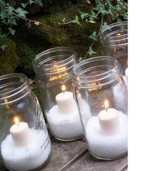 """Winter Decor – put a candle and """"snow"""" (Epsom salt) in a pretty glass jar like this one below."""