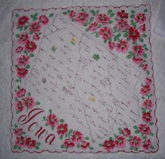 Vintage Iowa State Hanky  Hankie Handkerchief by HankyLady on Etsy, $25.00