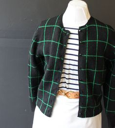 black and green checked wool cardigan m by cheapopulance on Etsy, $35.00
