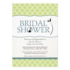 Lime Teal Moroccan Tile Pattern Bridal Shower