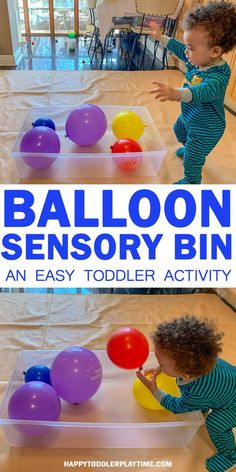 Balloon Sensory Bin – HAPPY TODDLER PLAYTIME Balloons are absolutely irresistible to kids of all ages and so is this sensory bin! It's so easy for you but sooo much fun for them! #toddler #birthday #toddleractivities