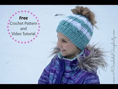 Free Crochet Pattern: Cabled Messy Bun Hat - YouTube