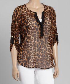 Look at this #zulilyfind! Brown Sheer Leopard Notch Neck Top - Plus by Libian #zulilyfinds