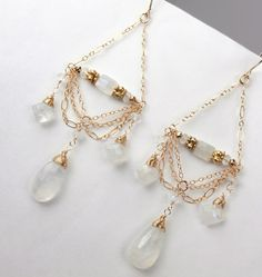 Moonstone Chandelier Earrings 14kt Gold Filled Chain Chandelier Earrings Wire Wrapped Moonstone Luxury Fashion Wedding Earrings. $155.00, via Etsy.