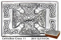 Embossed (repousse) metal celtic box mounted on wood. Measures: 20 x 12.5  x 6 Cm. //  8 x 5 x 2.5 In. See more boxes at: arteymetal.d...