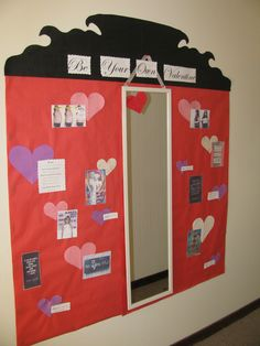 """resident-crafter: """" This is my silent (passive) program for the month! It's """"Be Your Own Valentine"""" and it's a self-love, positive body image bulletin. I included a mirror (which I think it's just..."""