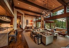 Warm modernism takes center stage in Martis Camp retreat – rustic home interior Modern Mountain Home, Modern Lodge, Mountain Home Interiors, Cabin Homes, Custom Home Builders, Modern House Design, Home Living Room, Kitchen Living, Great Rooms