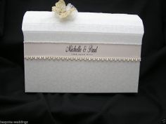 Wedding Chest Post Box Shabby Chic Vintage Personalised Ribbon Any Colour Bow