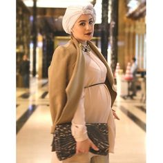 "photo: ""Outfit details: Jacket: Shirt: Necklace: Bag: H&M"" Maternity Dresses, Maternity Fashion, Maternity Style, Muslim Fashion, Hijab Fashion, Mode Turban, Turban Hijab, Pregnancy Outfits, Pregnancy Clothes"