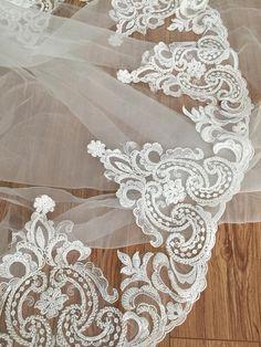 Ivory Chantilly Lace Trim sales-Corded Lace Trim 42cm x 3.3 yards Wedding Dress Lace Trim Bridal Veil Lace Trim
