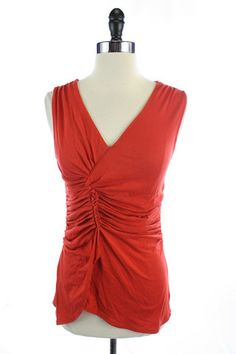 Recycle Your Fashions GAP Orange RUCHED Sleeveless VNECK BLOUSE Shirt TANK TOP S