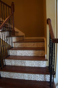 splitface tile on stair risers