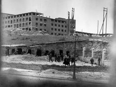 Madrid, Spain. Republican fortifications around the University Hospital, one of the main bastions of the Nationalists. The offensive on Madrid, which lasted between November 1936 and February 1937, was one of the fiercest of the Civil War. It ended with a Republican victory. By Robert Capa, (February 1937)