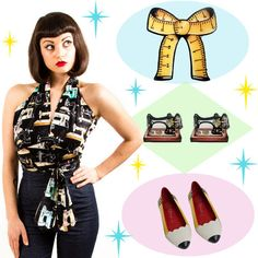 A cute outfit post featuring a sewing machine halter top by Flippsville, Measuring Tape Bow brooch by Jubly-Umph and pencil flats shoes by Jeffrey Campbell. More on the Blog...