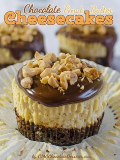 Mini Chocolate Peanut Butter Cheesecakes - OMG Chocolate Desserts